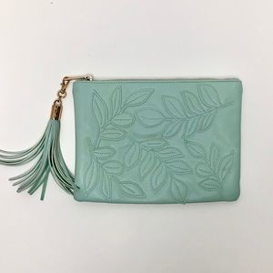 Turquoise Floral Embroidered Clutch